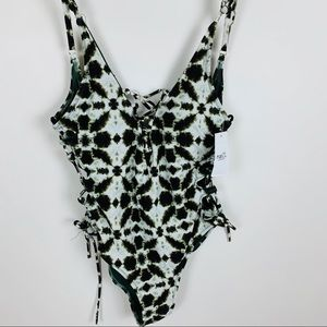 Tie Dye Print Green White One Piece Swimsuit Small